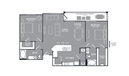 Two-Bedroom Floor Plan at Mansions at Spring Creek, Garland, 75044