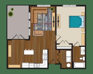 Floor Plan One Bedroom with Balcony