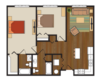 Floor Plan Two Bedroom, Two Bathroom