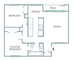 Floor Plan 2 Bed, 1 Bath