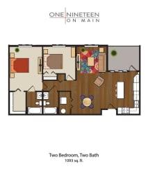 Floor Plan Two Bedroom, Two Bathroom with Balcony