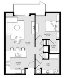 One Bedroom Unit 3