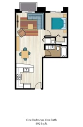 Floor Plan One Bedroom One Bath