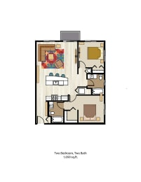 Floor Plan Two Bedroom Two Bath