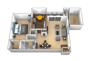 1 bedroom 1 bathroom floor plan at Cromwell Valley Apartments in Towson MD, opens a dialog