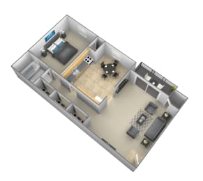 1 bedroom 1 bathroom floor plan at Security Park Apartments in