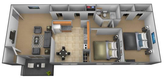2 bedroom 1 bathroom floor plan at Cub Hill Apartments in Parkville, MD, opens a dialog