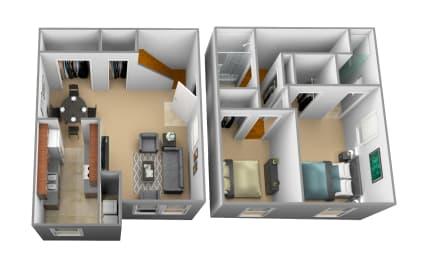 Floor Plan 2 Bedrooms 2 Bath, opens a dialog