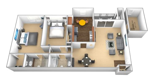 2 bedroom 2 bathroom floor plan at Cromwell Valley Apartments in Towson MD, opens a dialog