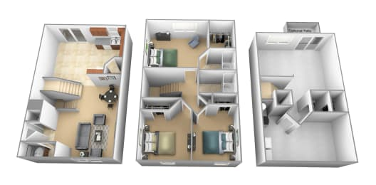 3 bedroom 2 bathroom floor plan at Carlson Woods Townhomes in Randallstown MD