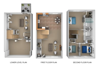 3 bedroom 2.5 bathroom with walkout 3D floor plan at The Pointe at Manorgreen