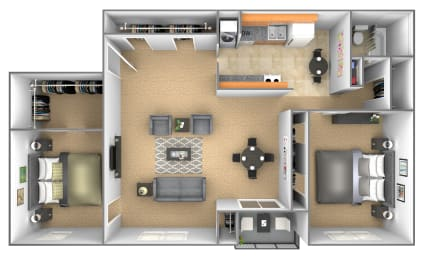 2 bedroom 1 bathroom floor plan with den at Deer Park Apartments in Randallstown, MD