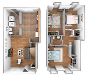 3 bedroom 1 bathroom floor plan at Kingston Townhomes in Essex, MD