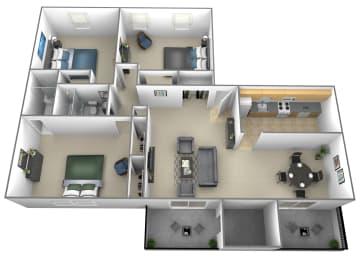 3 bedroom 2 bathroom floor plan at Liberty Gardens Townhomes