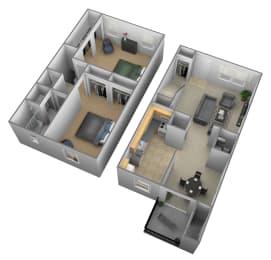 Floor Plan 2 Bedrooms 1.5 Bath Townhome, opens a dialog