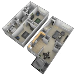 Floor Plan 3 Bedrooms 1.5 Bath Townhome, opens a dialog