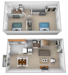 2 bedroom 1 bathroom 3D floor plan at McDonogh Village Apartments in Randallstown MD