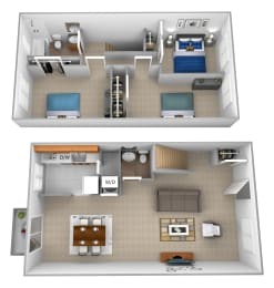 3 bedroom 1.5 bathroom with den 3D floor plan at McDonogh Village Apartments in Randallstown MD