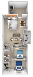 2 bedroom 1.5 bathroom with den 3D floor plan at McDonogh Village Apartments in Randallstown MD