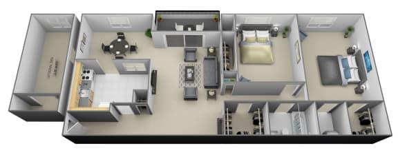 2 bedroom 1.5 bathroom with den 3D floorplan at Painters Mill Apartments