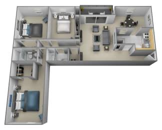 3 bedroom 2 bathroom with den 3D floorplan at Painters Mill Apartments