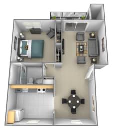 1 bedroom 1 bathroom 3D floor plan at Rockdale Gardens Apartments