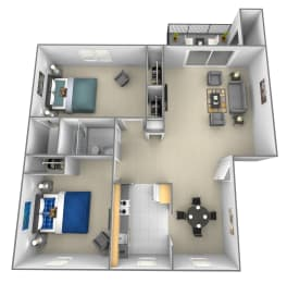 2 bedroom 1.5 bathroom 3D floor plan at Rockdale Gardens Apartments in Windsor Mill, MD