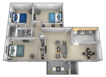 3 bedroom 2 bathroom 3D floorplan at Rockdale Gardens Apartments
