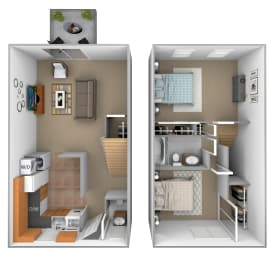 2 bedroom 1.5  bathroom Bradford floor plan at Seven Oaks Townhomes in Edgewood, MD