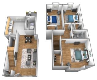 3 bedroom 1 bathroom inside unit 3D floor plan at Somerset Woods Townhomes in