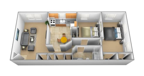 Floor Plan 2 Bedroom 1 Bath, opens a dialog
