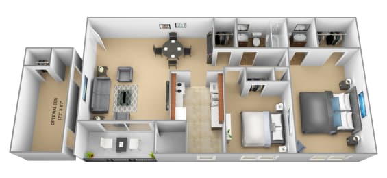 2 bedroom 1.5 bathroom with den 3D floor plan at The Village of Pine Run Apartments in Windsor Mill, MD