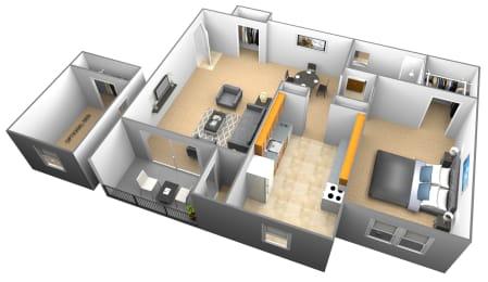 1 bedroom 1 bathroom with den 3D floor plan at Woodridge Apartments in Randallstown, Maryland
