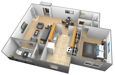 Studio 1 bedroom 1 bathroom 3D floor plan at Woodridge Apartments in Randallstown, Maryland