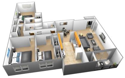 3 bedroom 3 bathroom 3D floor plan at Woodridge Apartments in Randallstown, Maryland