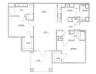 Floor Plan 2 Bedroom B