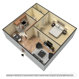 Floor Plan 1 Bed | 1 Bath, opens a dialog