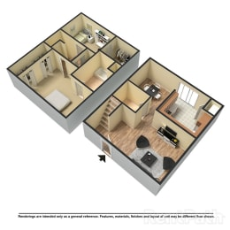 Floor Plan 2 Bed | 1.5 Bath B Townhome, opens a dialog