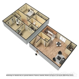 Floor Plan 3 Bed | 2.5 Bath B Townhome, opens a dialog