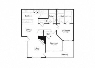 D Two Bed And Two Bath Floorplan at Alvista Trailside Apartments, Englewood, CO, 80110