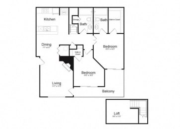 F Two Bed And Two Bath Floorplan at Alvista Trailside Apartments, Englewood, 80110