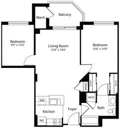 1Dxf one bedroom den one bathroom floor plan at Aura Pentagon City apartment in Arlington VA