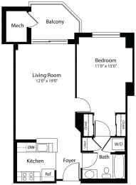 1x1a one bedroom one bathroom floor plan at Aura Pentagon City apartment in Arlington VA