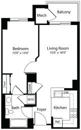 1x1b one bedroom one bathroom floor plan at Aura Pentagon City apartment in Arlington VA