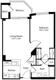 1x1d one bedroom one bathroom floor plan at Aura Pentagon City apartment in Arlington VA