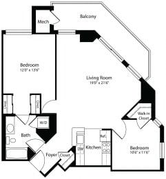 2x1c two bedroom one bathroom floor plan at Aura Pentagon City apartment in Arlington VA