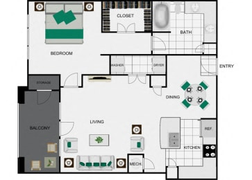 A7 Floorplan for apartments in houston texas