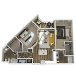 Floor Plan B3 - Two Bed - Two Bath, opens a dialog