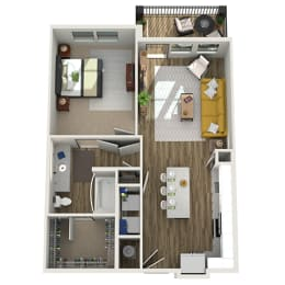 Floor Plan A1 - One Bed - One Bath, opens a dialog