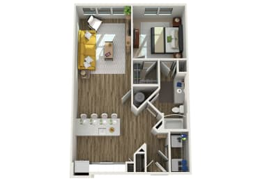 Floor Plan A3 - One Bed - One Bath, opens a dialog